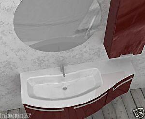 Mobile da bagno curvo sospeso mod ly piano e lavabo w907 - Mobile bagno curvo ...