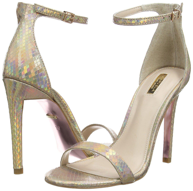 CARVELA KG SIZE 7 40 GATSBY GOLD HIGH HEEL SEXY ANKLE STRAP Schuhe SANDALS BN