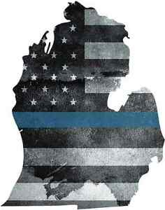 Thin Blue line decal State of Michigan Tattered Flag Green Red Blue Line Decal