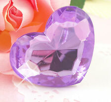 EXTRA LARGE Purple Sparkle Rhinestone Heart Cabochon Embellishment Deco UK SELL
