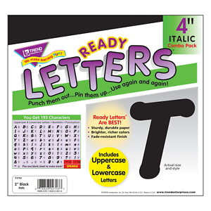 Black 4-Inch Italic Upper/Lowercase Letters - Classroom Displays, Notice Boards