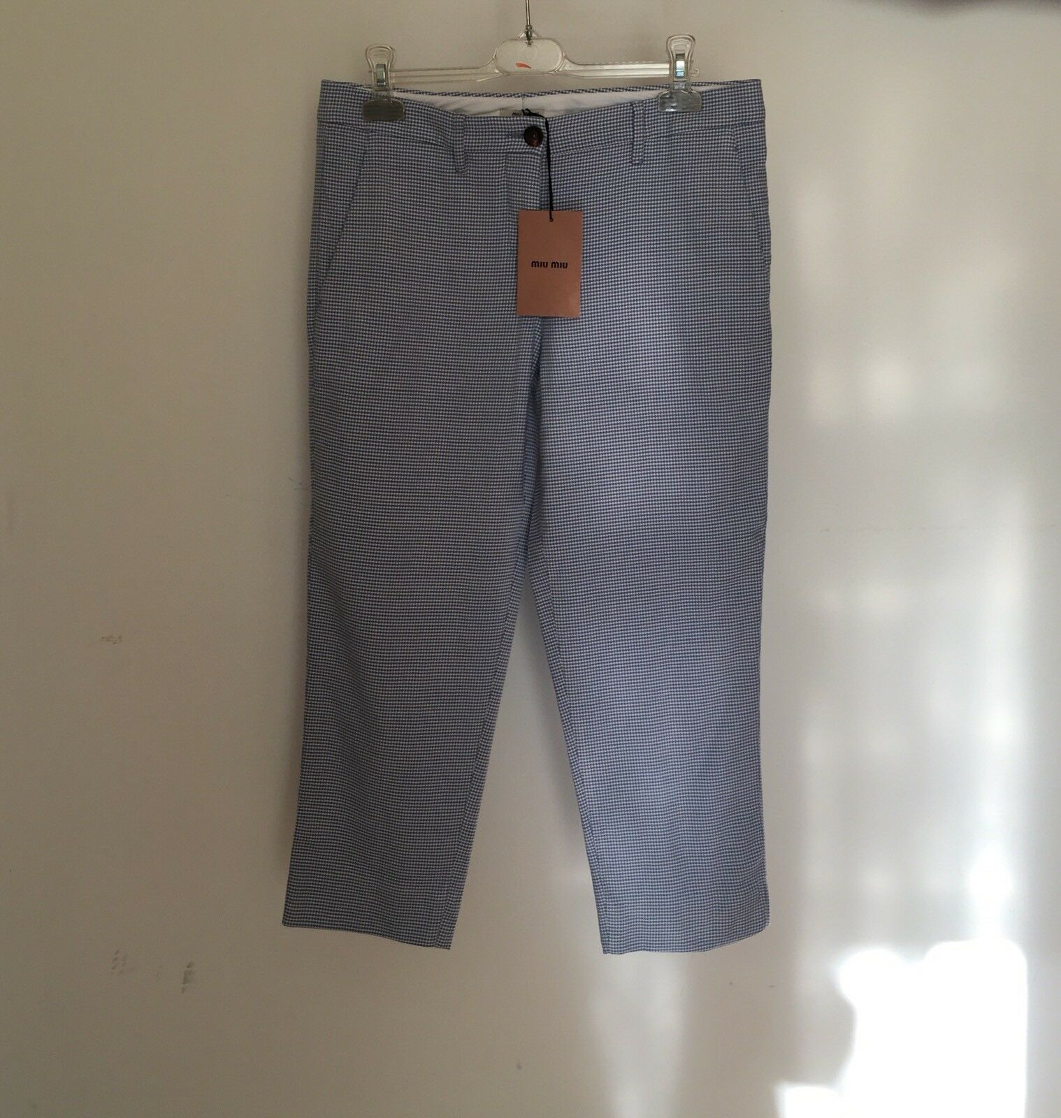 Originale Pantalone MIU MIU tg 40 Bianco Azzurro Nuovo con etichetta