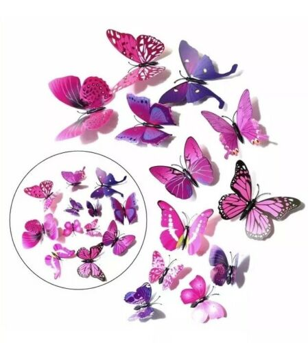 3D Butterfly Wall Stickers Art Decal Home Room Decorations Butterfly X 12PCS P