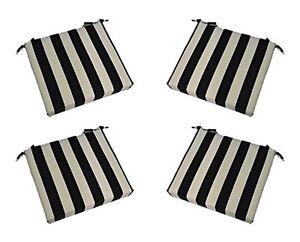 Set Of 4 In Outdoor Chair Seat Cushion Black White Stripe Foam