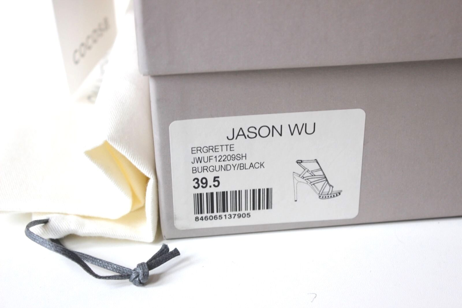 NEW Jason Wu Studded Ergette Burgundy Velvet Cage Studded Wu Sandals Heels 39.5 uk 6.5 0da1fb