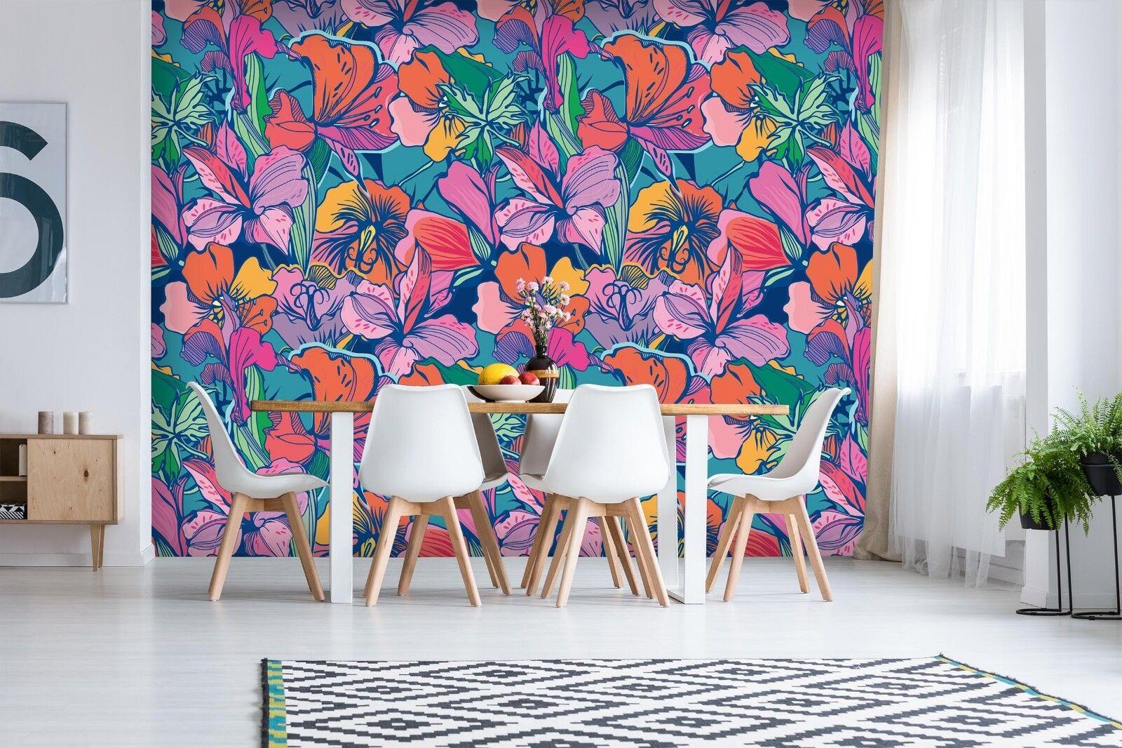 3D rot Flower 7017 Wall Paper Print Wall Decal Deco Indoor Wall Murals US Summer