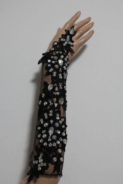 Fashion Bright Rhinestones Lace Elbow Black Fingerless Bridal wedding Gloves
