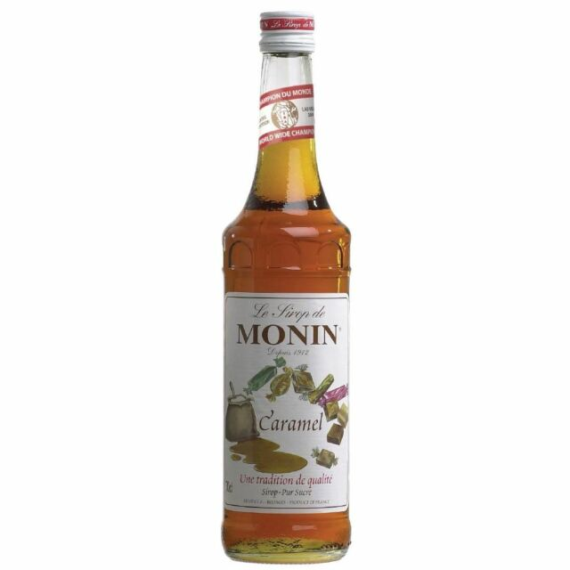 Monin Caramel Syrup with Natural Fruit - No Artificial Additives - 700ml
