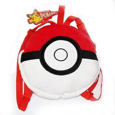 1PC Pokemon Pikachu PokeBall School Shoulder Bag Anime Children Plush Backpack