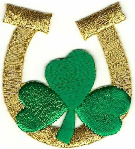 Irish Good Luck Lucky Gold Horseshoe Shamrock 3 Leaf Clover Embroidery Patch