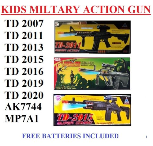 Toy Kids TD Military Assault Machine Guns with Vibration Sound Flashing Lights