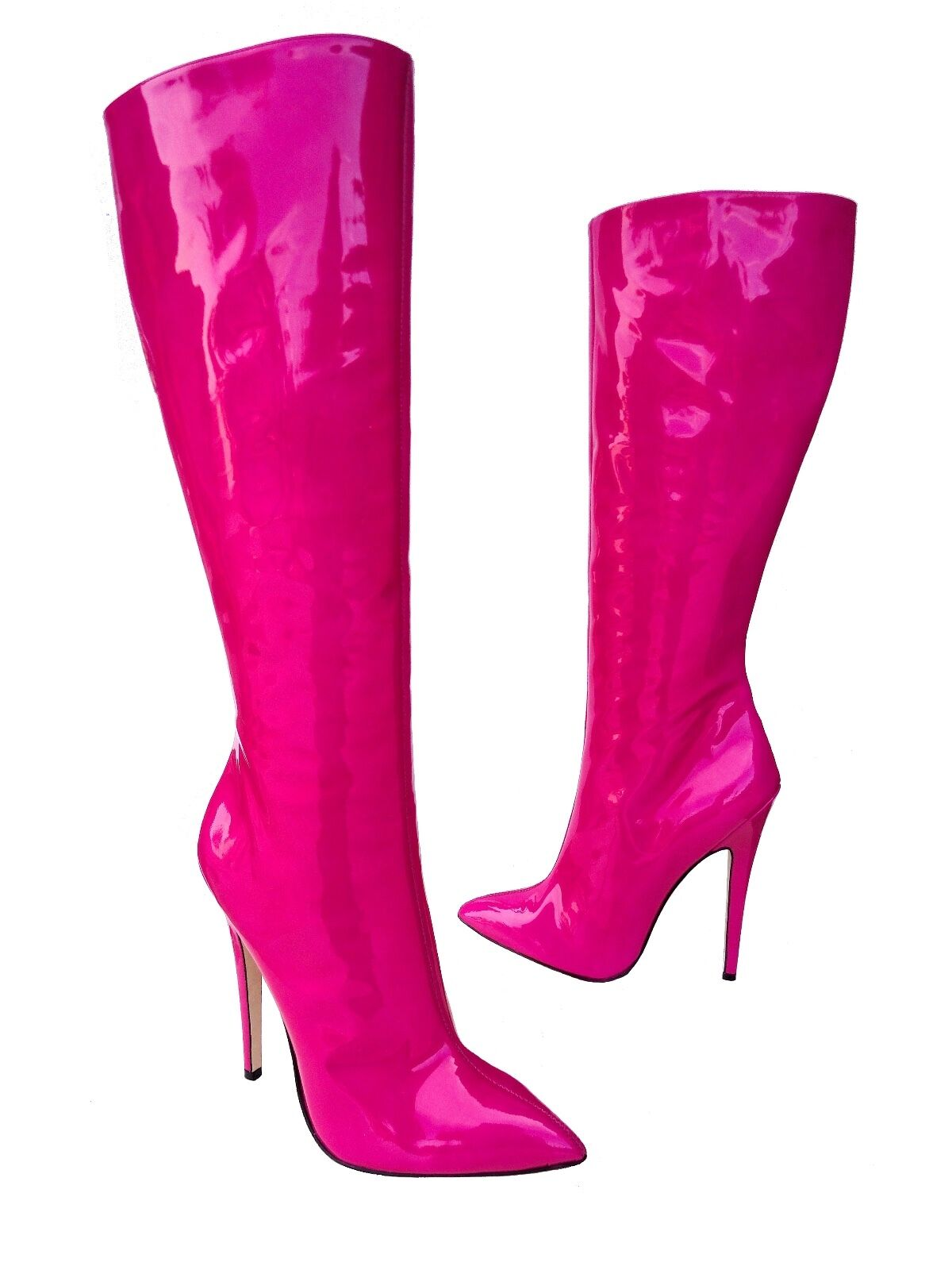 Grandes zapatos con descuento CQ COUTURE KNEE HIGHEST HEELS BOOTS STIEFEL STIVALI LEATHER FUXIA ROSA PINK 37