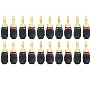 8 Pack GLS Audio Safe-Connect Generation 4 Gold Connector Banana Plugs Banana Clips 4 Red /& 4 Black