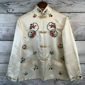 Vintage-Plum-Blossoms-Joseph-Magnin-Silk-Chinese-Embroidered-Jacket-38-Medium