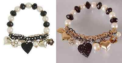 B257 BETSEY JOHNSON Hearts with Golden Heart Chain Beaded Bracelet US