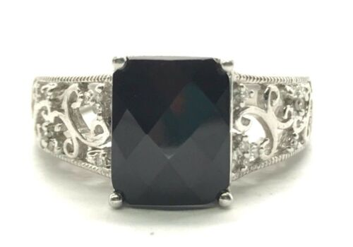 Sterling Silver 925 Faceted Black Onyx Diamond Floral Swirl Band Cocktail Ring 7