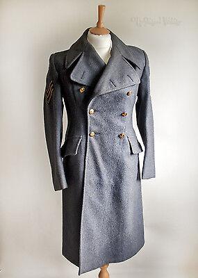Vintage 1961 RAF No.9 Sergeants Greatcoat + Eagle & Chevron Stripes FREE UK P&P