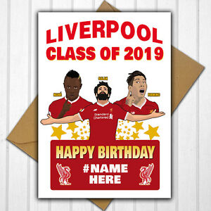 Image Is Loading Liverpool FC Class Of 2019 Personalised Birthday Card