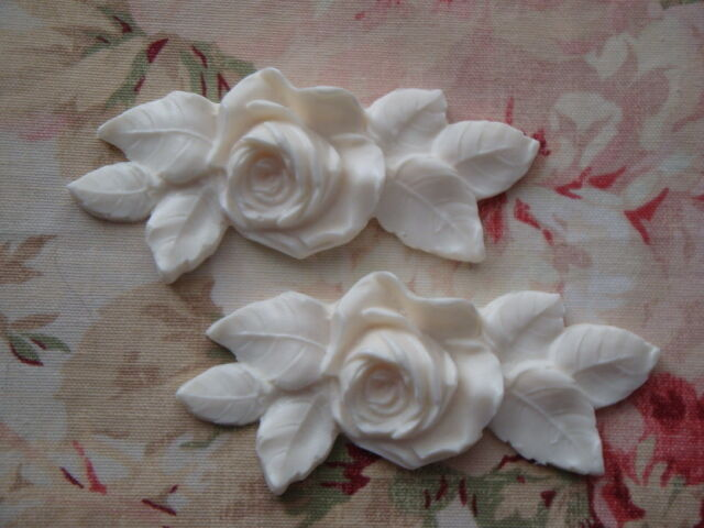 Furniture Applique Shabby and Chic Roses Leaf Appliques 2 pcs. New