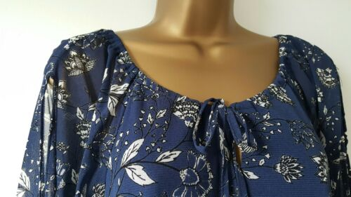 Ex M/&Co Size 10-22 Cold Shoulder Navy Blue White Floral Print Tunic Top Blouse