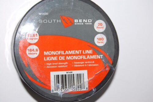 180yds South Bend Ligne De Pêche Clair Monofilament m1430 Haut Noeud Force 30 lb environ 13.61 kg