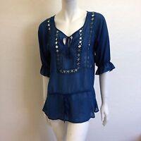 Aberdeen & Skye Teal Blue X-crochet Blouse Size Medium $145 No1