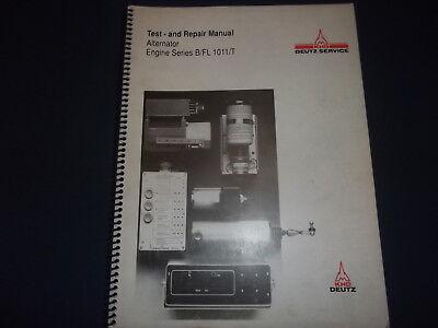 Khd Deutz Alternator Engine Series B Fl 1011 T Service Repair Workshop Manual Ebay