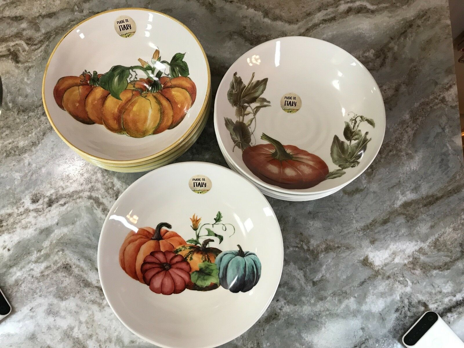 Large Pasta Bowls Ceramica Cuore Pretty Pumpkins. Set Of 4. New.