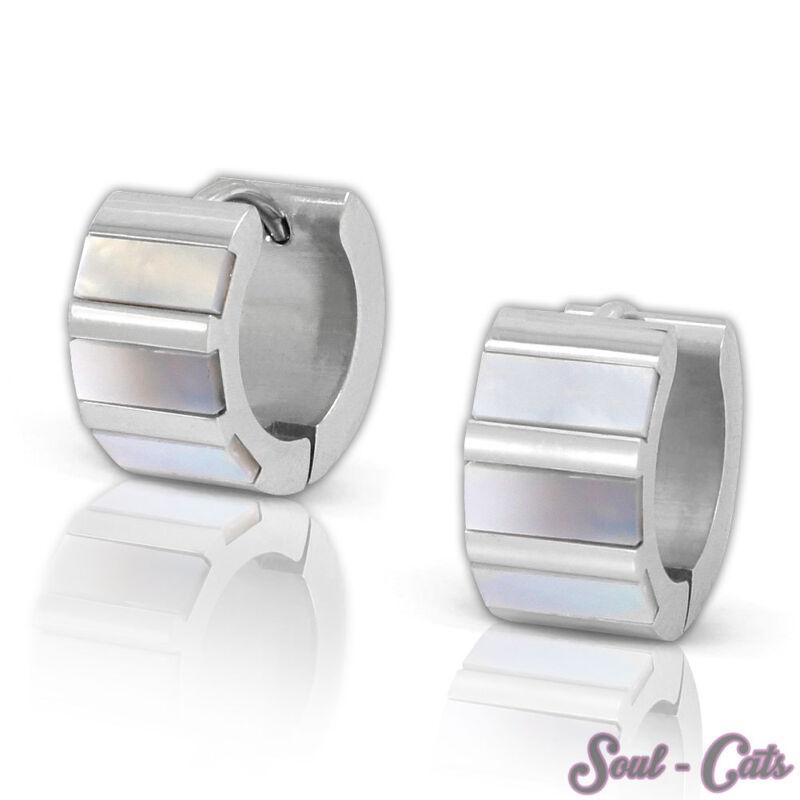 Hoop Earrings Pearl Stainless Steel Silver Shell Dazzling Earring Catch Fastener