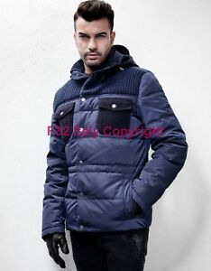 quality design 4bd26 f89f5 Details about F32 ITALY WOOL KNIT PUFFER WINTER DOWN BOMBER VARSITY Jacket  Giacca Piumino L