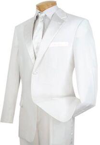 Men's White Classic-Fit Formal Tuxedo Suit w/ Sateen Lapel & Trim NEW Wedding