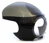 Cafe Racer Motorcycle Fairing - Black - Smoke Windshield - Honda Bmw Harley