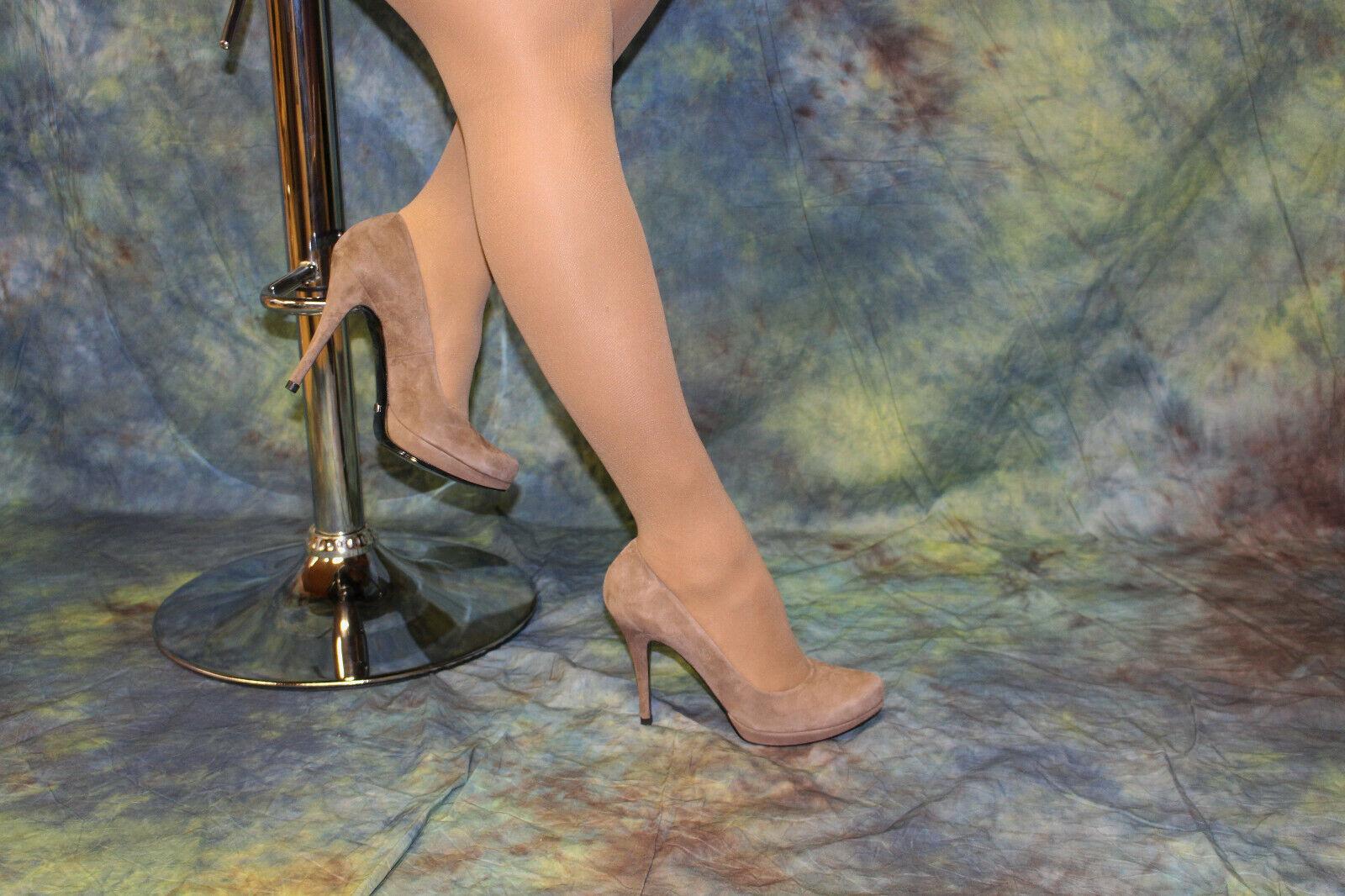Buffalo castaño claro serraje-High-heels de pequeña plataforma plataforma plataforma talla 41  Nuevos productos de artículos novedosos.