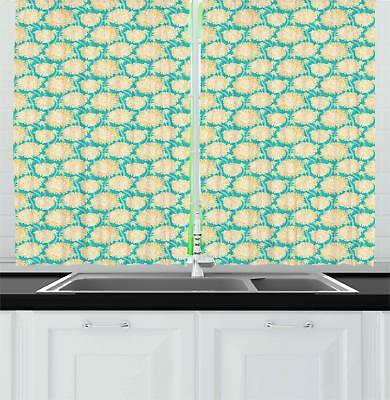 Aster Kitchen Curtains 2 Panel Set Window Drapes 55 X 39 Ambesonne Ebay