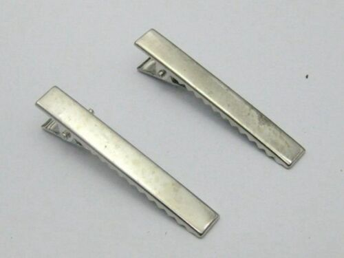250 Silver Tone Pinch Alligator Hair Clips 40mm with Teeth Bow