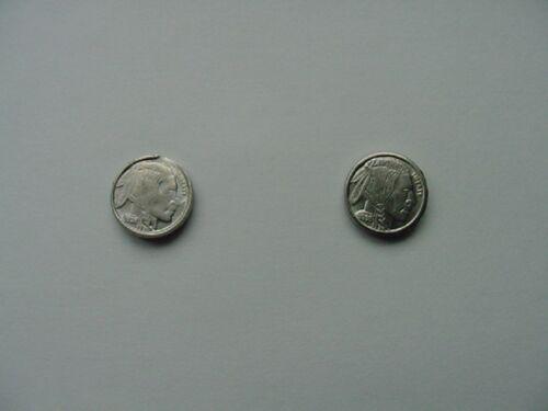 PIERCED COIN Indian head nickel 20th century miniature token Earrings #EE-751