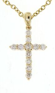 Real-Natural-Diamond-Cross-Religious-Pendant-Jewelry-14K-Yellow-Gold-0-37-Carat