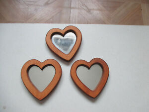 """Set of 3 Vintage Wood framed Heart Accent Mirrors Home Interiors 5"""" t x 4 3/4"""" w"""