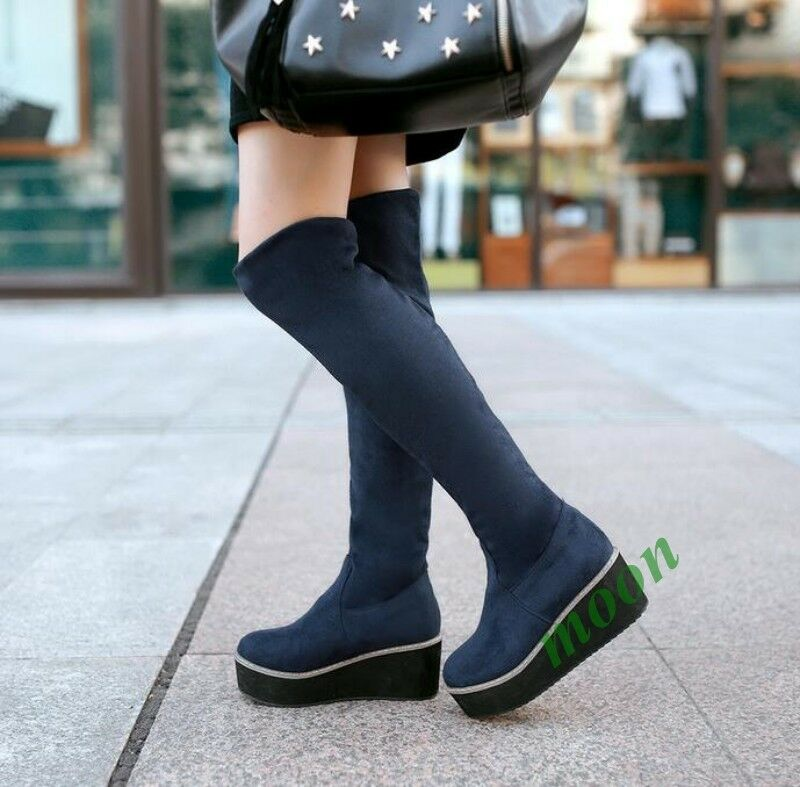New Fashion Womens Stretch Faux Suede Platform Heel shoes Over Knee High Boots