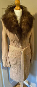 JFW-Beige-Longline-Cable-Knit-Belted-Cardigan-Uk-10-12-Faux-Fur-Soft-Wool-Mix
