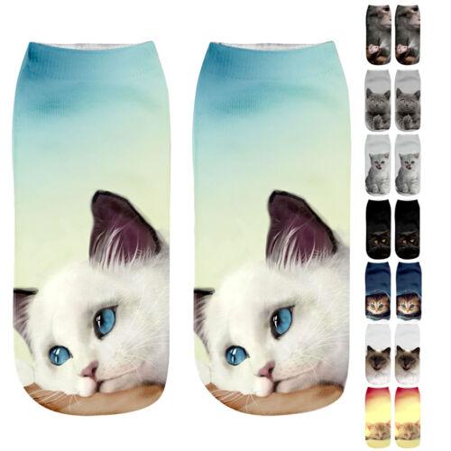 Cute 3D Animal Printed Cat Unisex Men Women Designer Low Cut Ankle Socks 7 Style