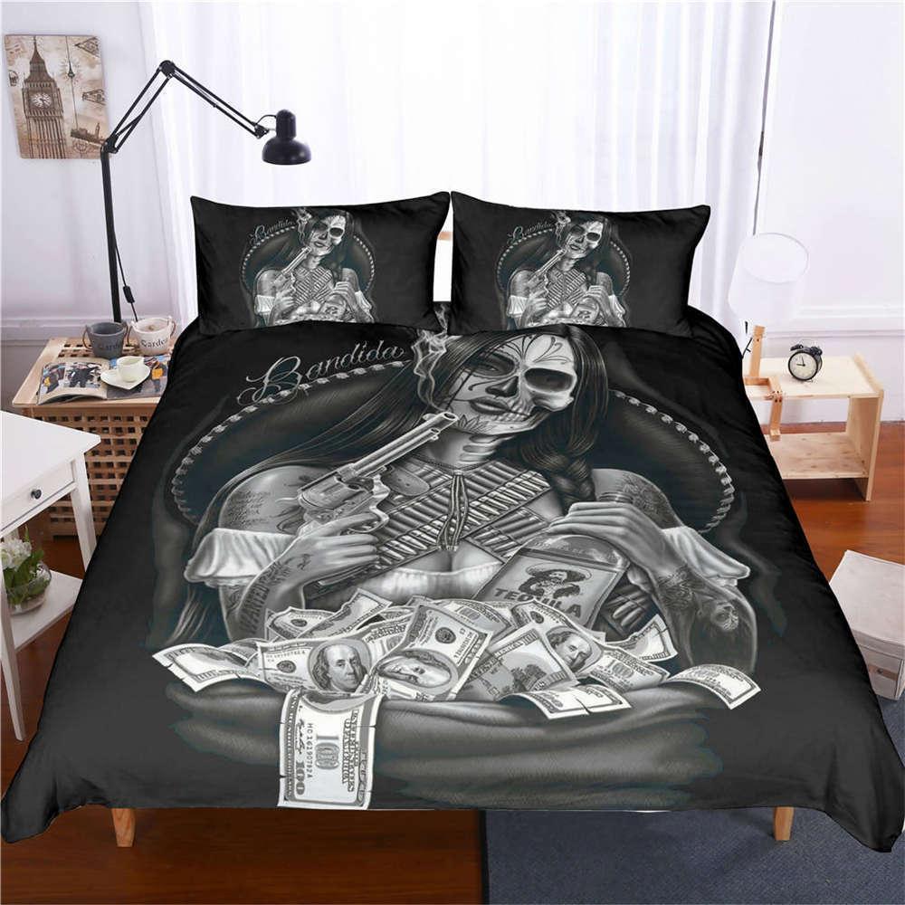 Beauty Pistol Many Money 3D Digital Print Bedding Duvet Quilt Cover Pillowcase