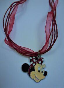 ???? Damen Mädchen Minnie Mouse Mickey Maus Anhänger Inkl. 5 Fach Kette Rot - Neu