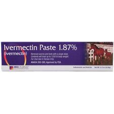 Ivermectin Paste 1.87% Horse Wormer MED-PHARMEX Remove Worms & Bots 1 Dose Tube