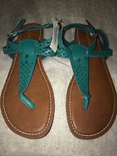 Aeropostale Green Thong Strap Buckle Sandals Size 9M New Women