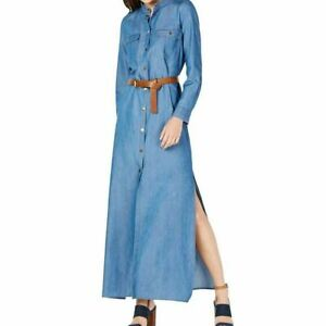 MICHAEL KORS NEW Women's Blue Belted Denim Maxi Shirt Dress XS ...