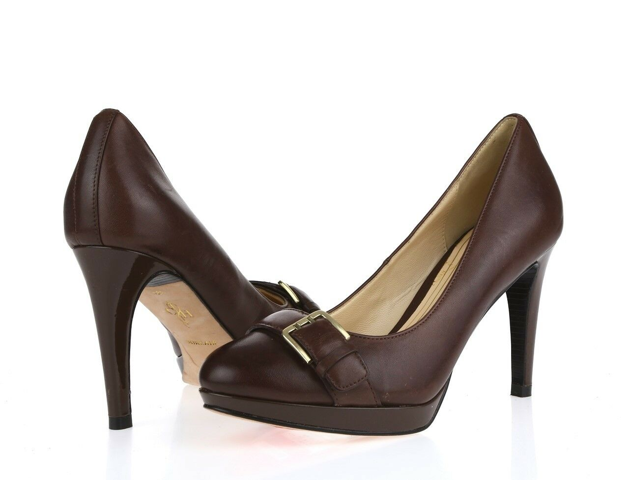 Donna COLE HAAN 210035 brown leather pumps heels sz. 6 B