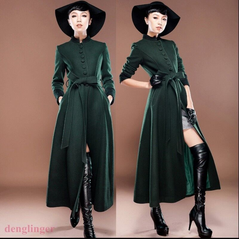 Elegant Womens Full Length Wool Cashmere Parkas Slim Long Overcoat Outwear Coat