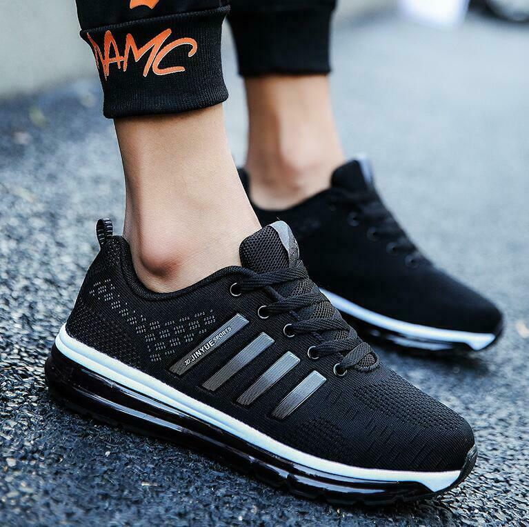 Fashion Mens Mesh Breathable Sports Gym shoes Lace Up Casual Athletic Sneakers