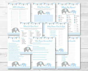 Blue Chevron Elephant Baby Shower Games Pack 8 Printable Games Ebay